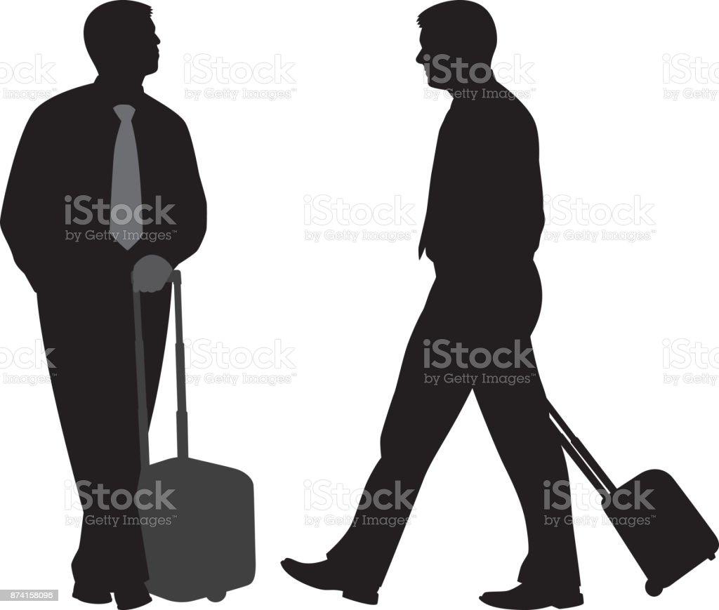 スーツケースのシルエットを圧延を持つ男 1人のベクターアート素材や