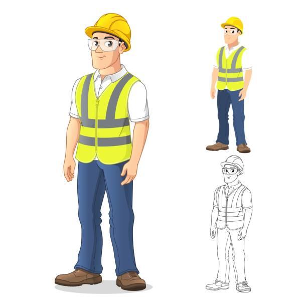 mann mit sicherheitsausrüstung - neonhosen stock-grafiken, -clipart, -cartoons und -symbole