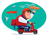 vector illustration of man with scooter and pizza