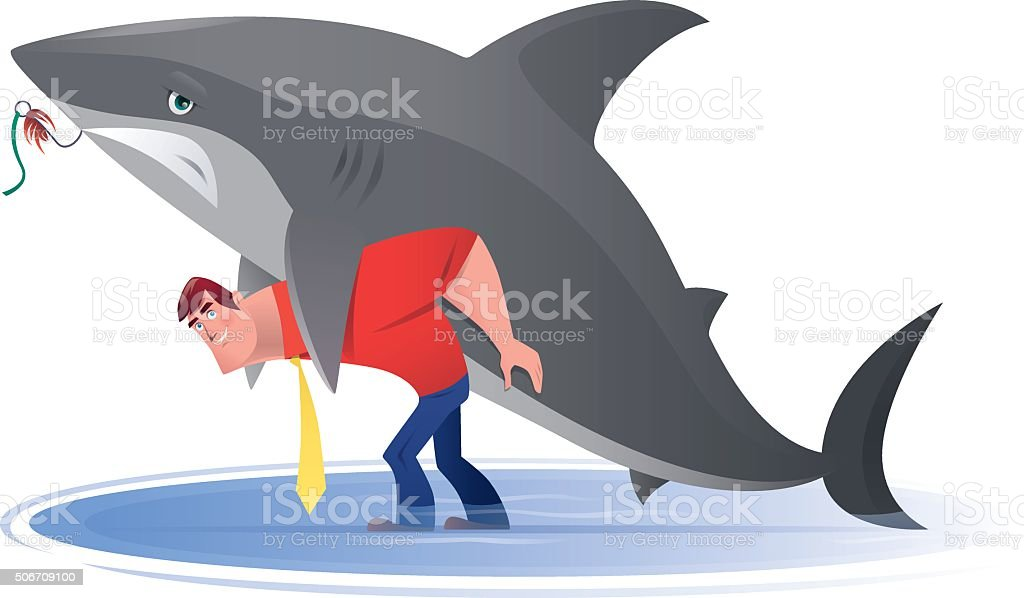 man with shark vector art illustration