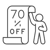 istock Man with sheet about seventy percent discount thin line icon, Black Friday concept, promotional poster sign on white background, Man showing sale board icon in outline. Vector graphics. 1287347123