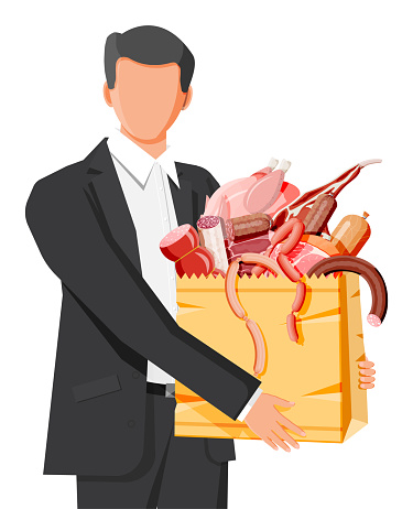 Man with shopping supermarket bag full of meat.