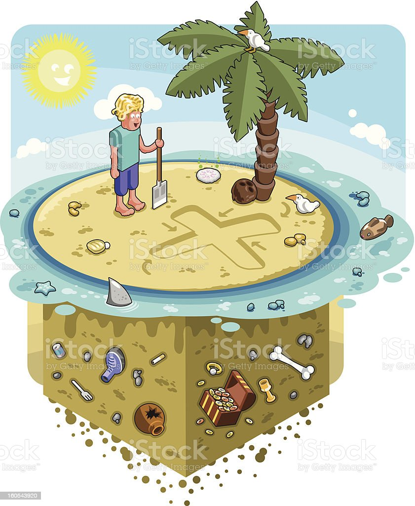 Man with shovel starts digging on treasure island (vector) vector art illustration