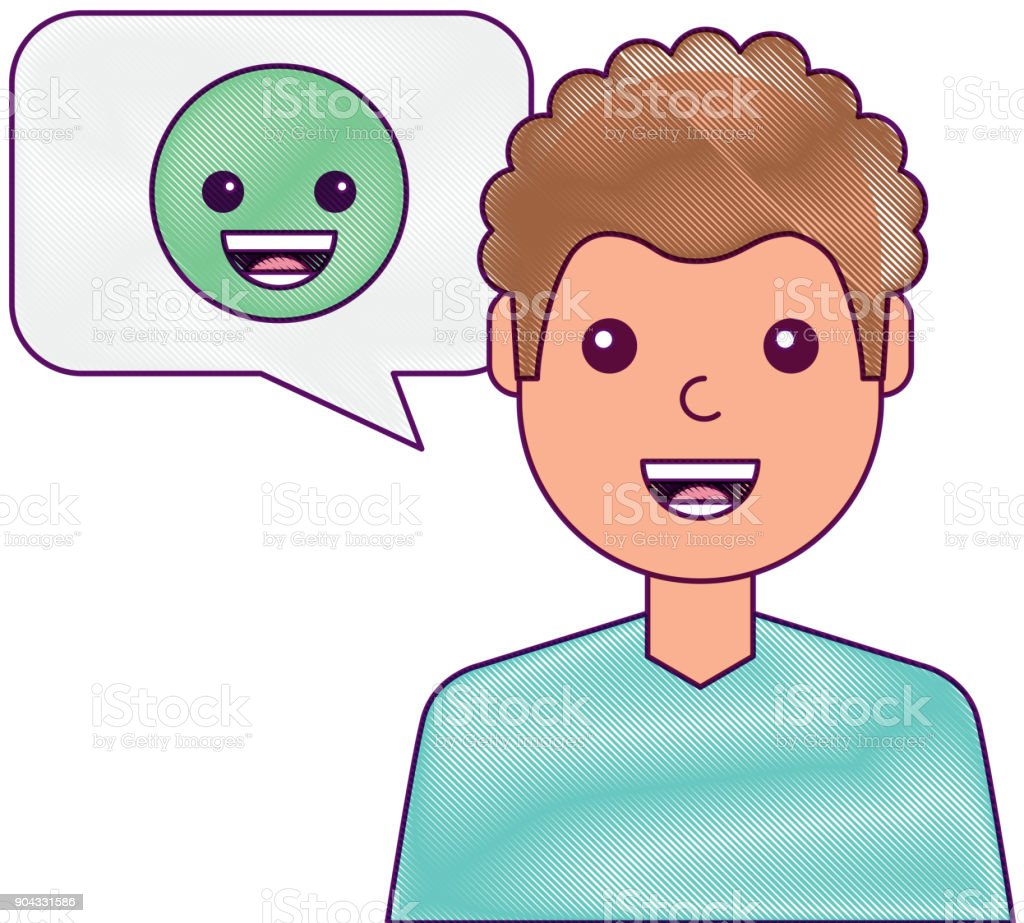 man with smile emoticon in speech bubble vector art illustration