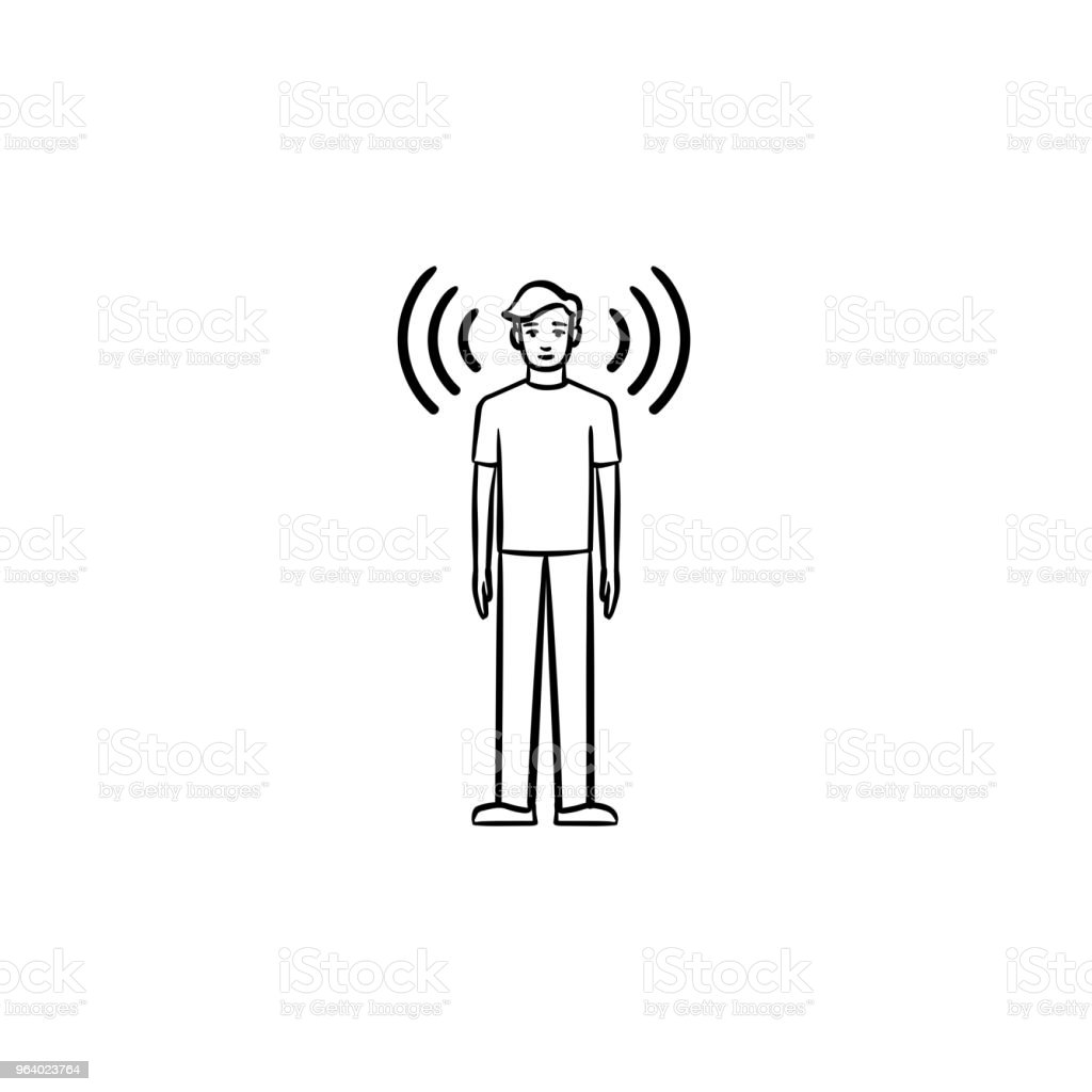 A man with soundwaves around hand drawn outline doodle icon - Royalty-free Adult stock vector