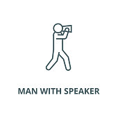 Man with speaker vector line icon, linear concept, outline sign, symbol