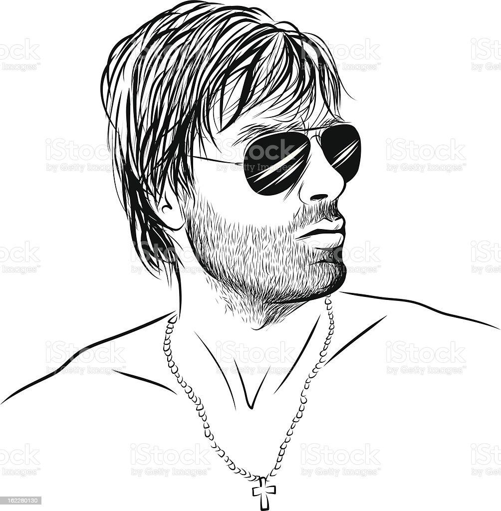 Man with sunglasses vector art illustration