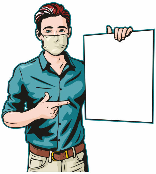 Man With Surgical Mask and Blank Sign vector art illustration