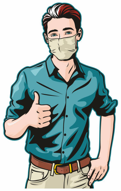 Man With Surgical Mask Gives Thumbs Up vector art illustration