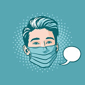 Comic book style pop art illustration of a handsome young man wearing a protective surgical mask.