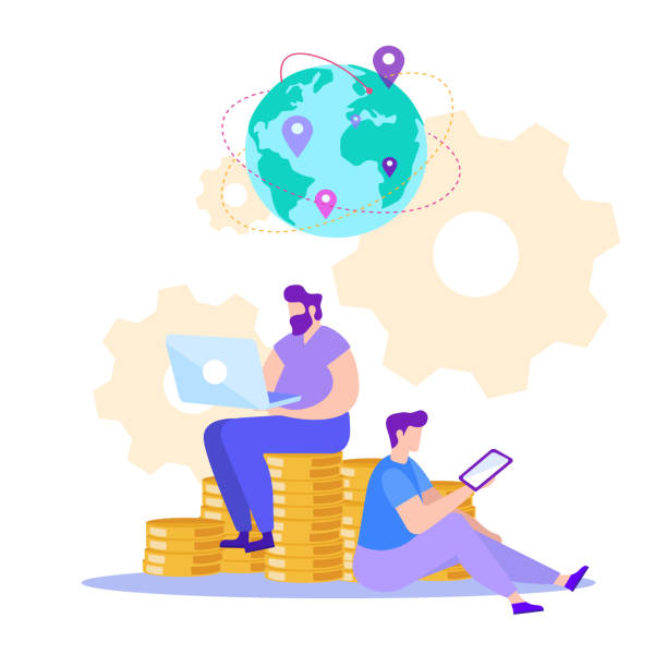 bildbanksillustrationer, clip art samt tecknat material och ikoner med man med tablet och laptop. tjäna online. vektor - changing bulb led