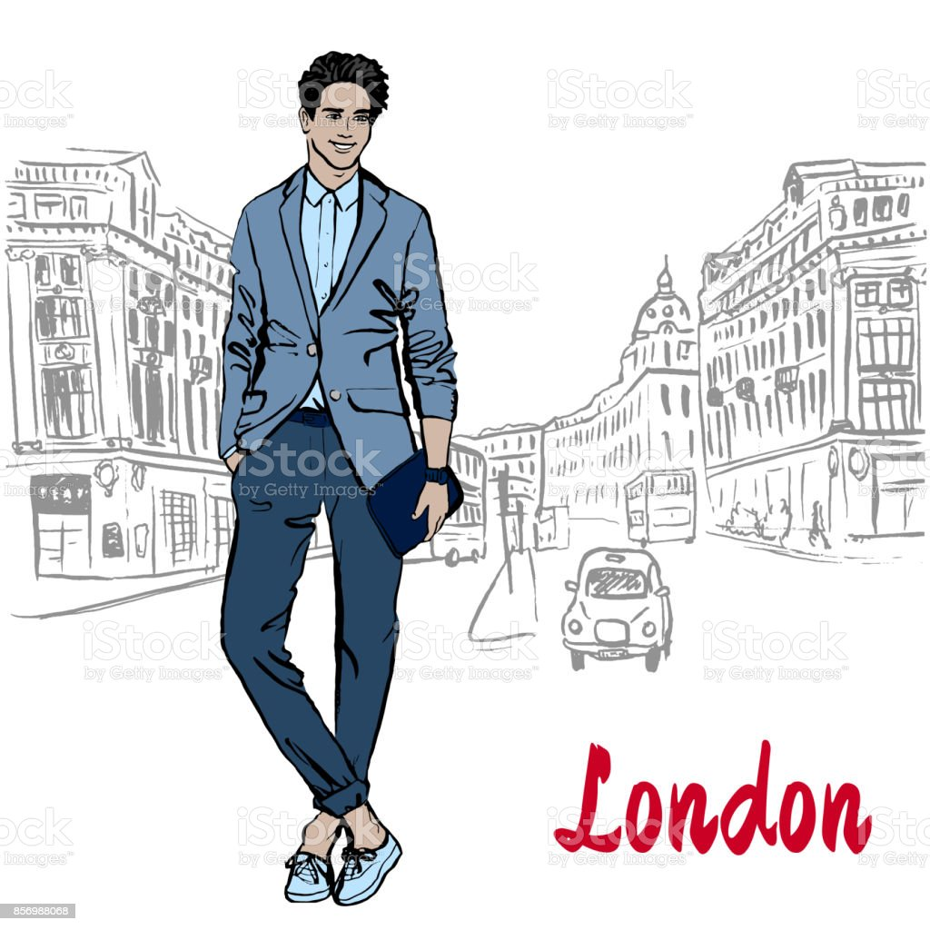 Man with tablet in London vector art illustration