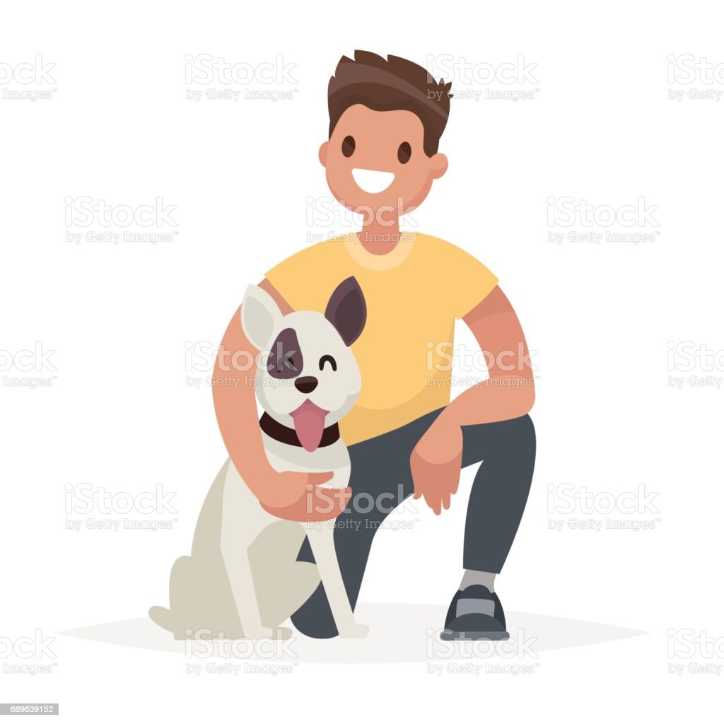 Man with the dog. Caring for a four-footed friend. Vector illustration in a flat style vector art illustration