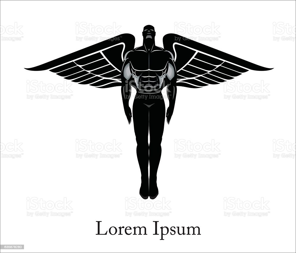 Man with the wing. Flying winged man. Winged Human silhouette.