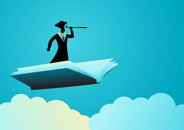 mann mit toga mit teleskop auf fliegenbuch - reiseliteratur stock-grafiken, -clipart, -cartoons und -symbole