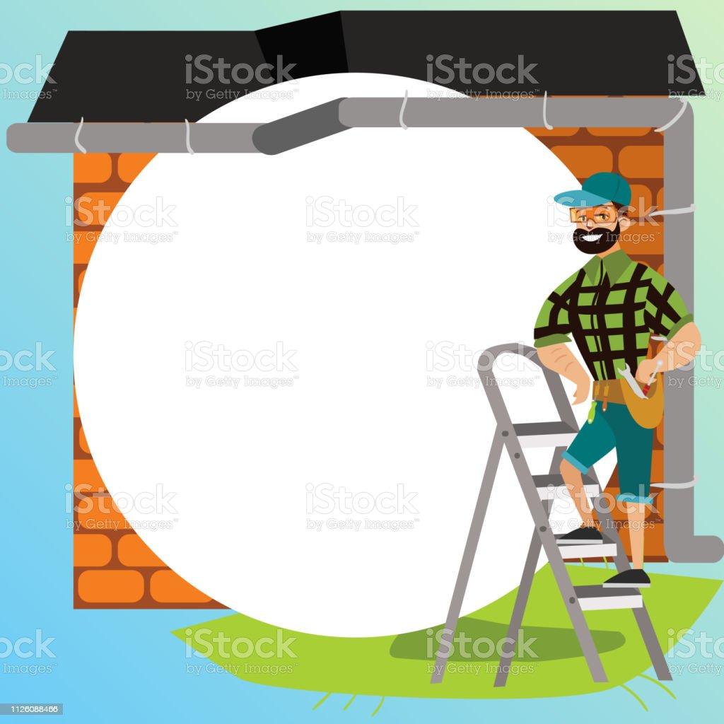 toit de maison dessin Homme avec outils examine affiche de toit de maison. Mâle de dessin animé  dans des
