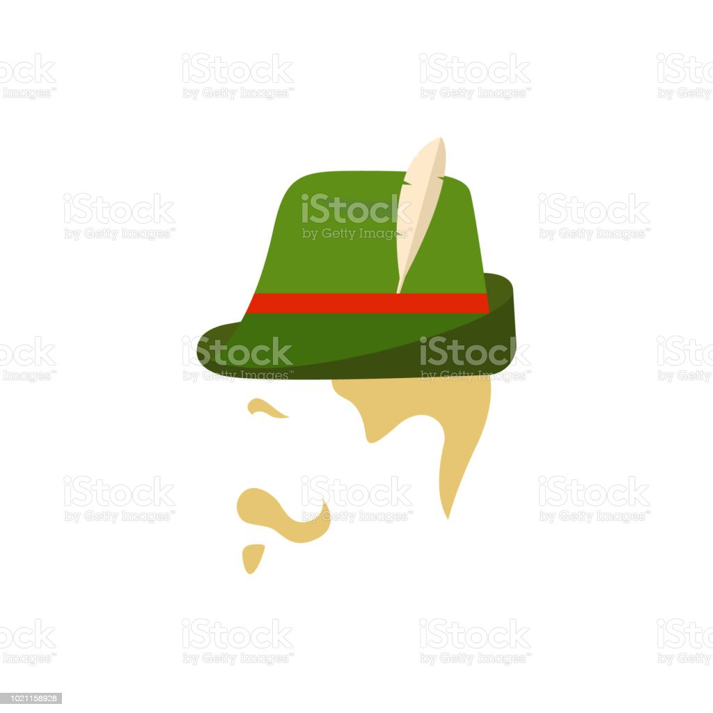 Man with traditional german green hat. Side view. Vector Illustration for  Oktoberfest. - Illustration . 32115c1e8b4