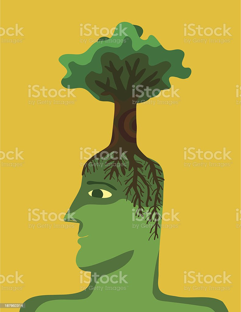 man with tree on his head royalty-free stock vector art