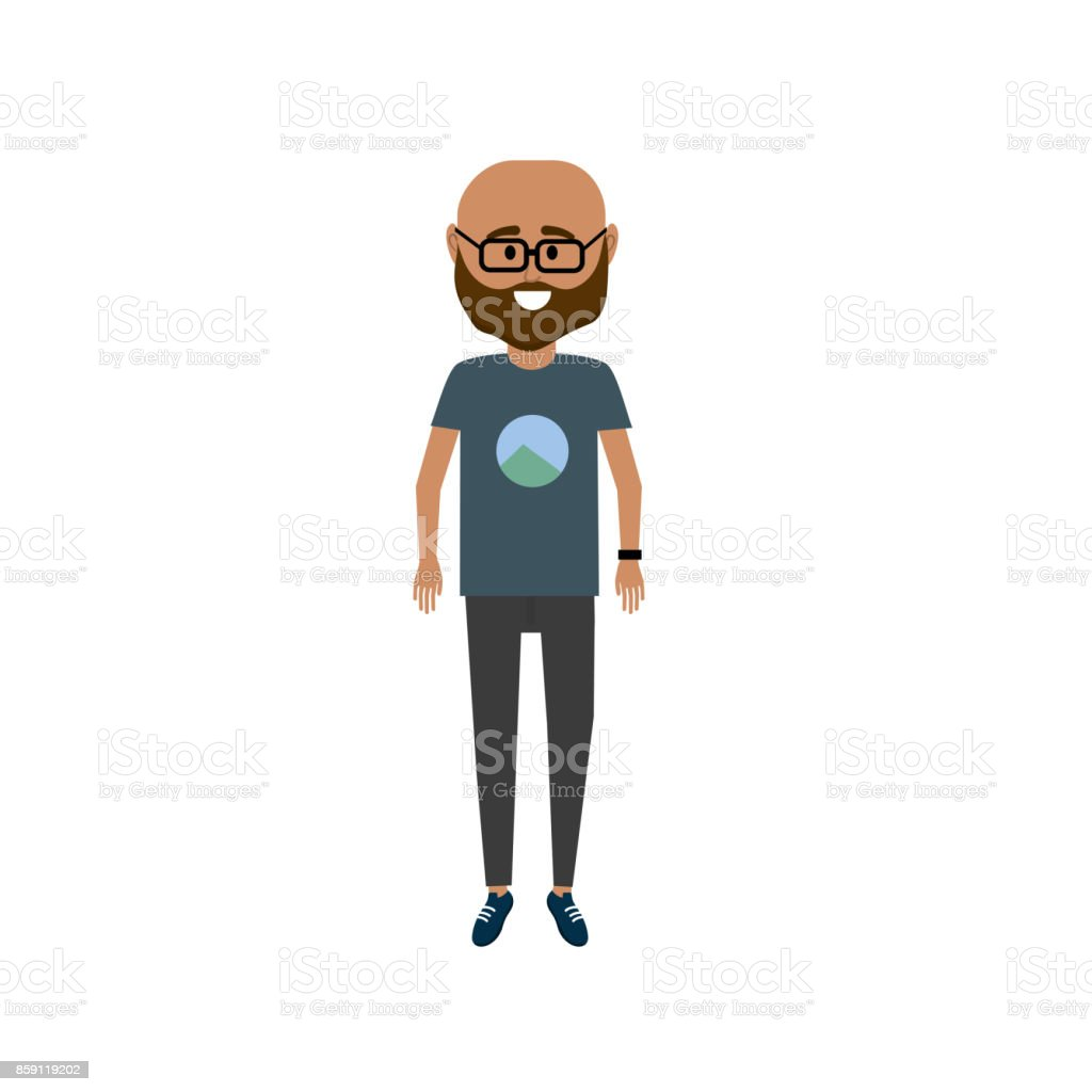 man with t-shirt and pants design vector art illustration