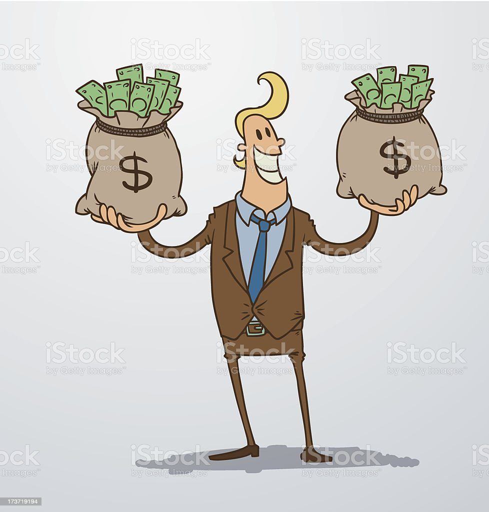 Man with two bags of money royalty-free stock vector art
