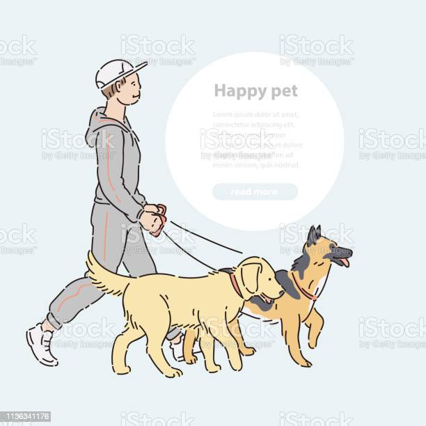 Man with two large dogs on leash vector line art host with pets and vector id1136341176?b=1&k=6&m=1136341176&s=612x612&h=stpclgs6izoce1jkdqk8iykfchtlnjlmphoddf jhei=