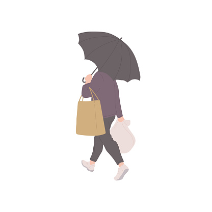 Man with umbrella and shopping bags in autumn casual clothes of urban style. Vector flat isolated character on a white background.