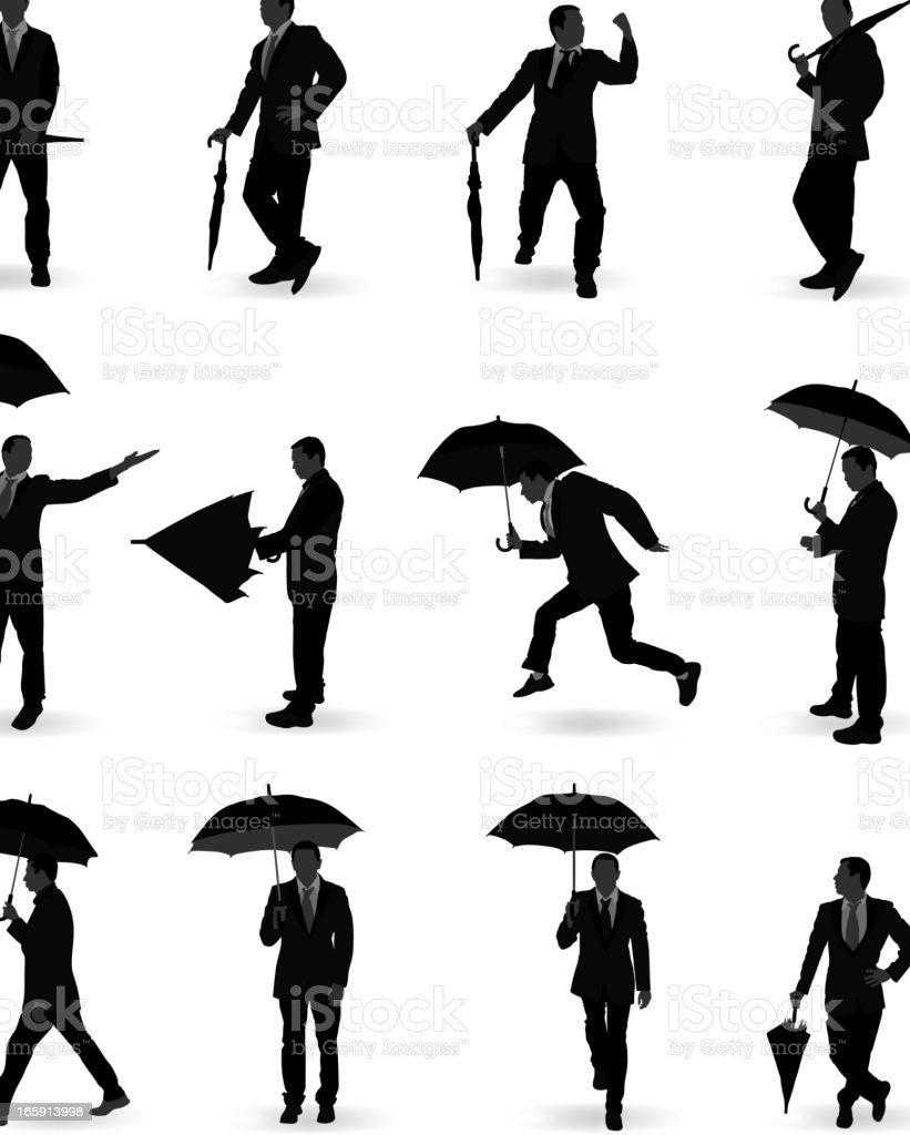 Man With Umbrella royalty-free stock vector art
