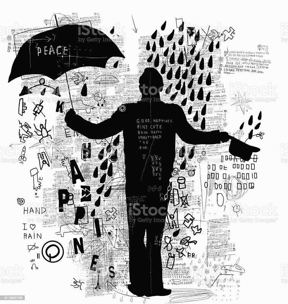 Man with umbrella vector art illustration