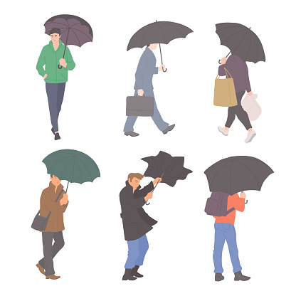 Man with umbrellas in rain in different autumn casual clothes of urban style. Vector flat set of isolated characters on a white background.