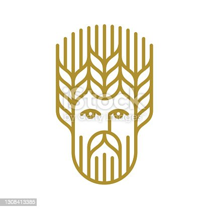 istock Man with wheat hairstyle 1308413385
