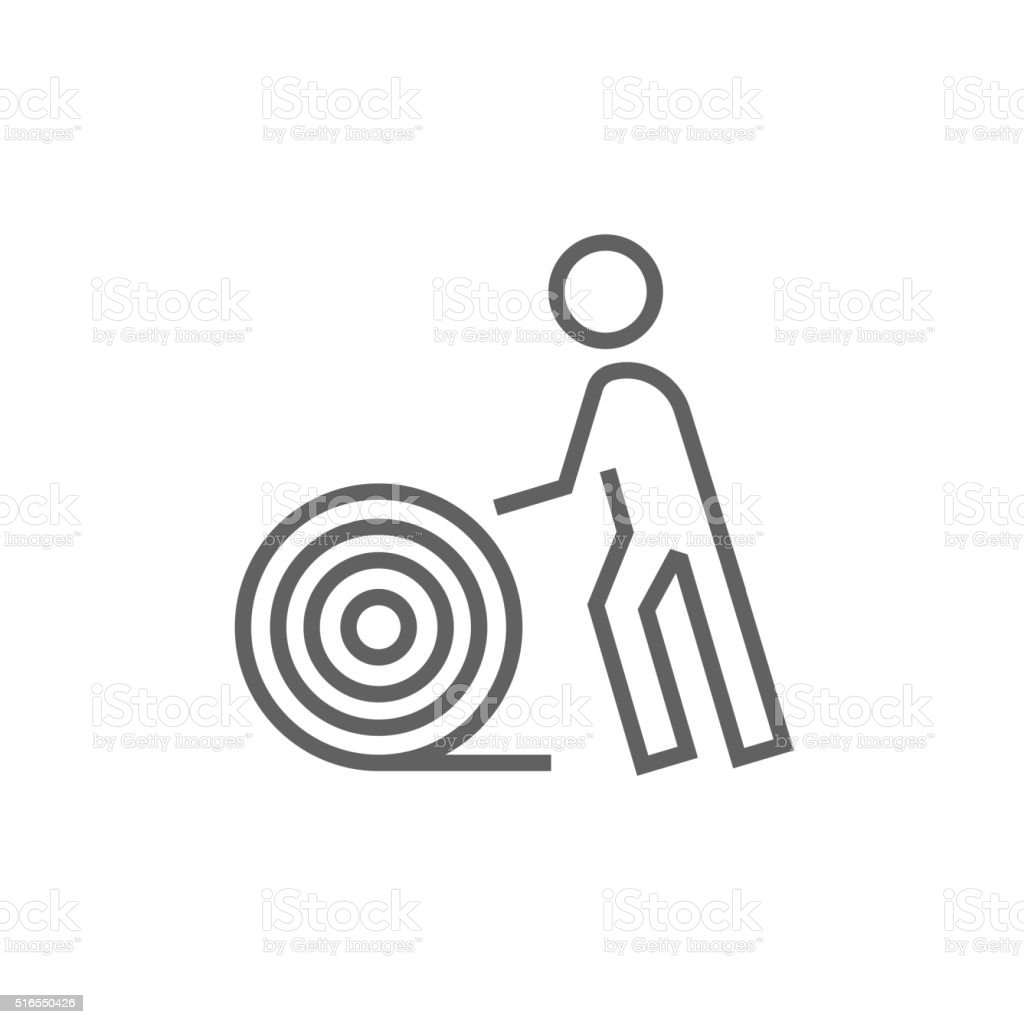 Man With Wire Spool Line Icon Stock Vector Art & More Images of ...