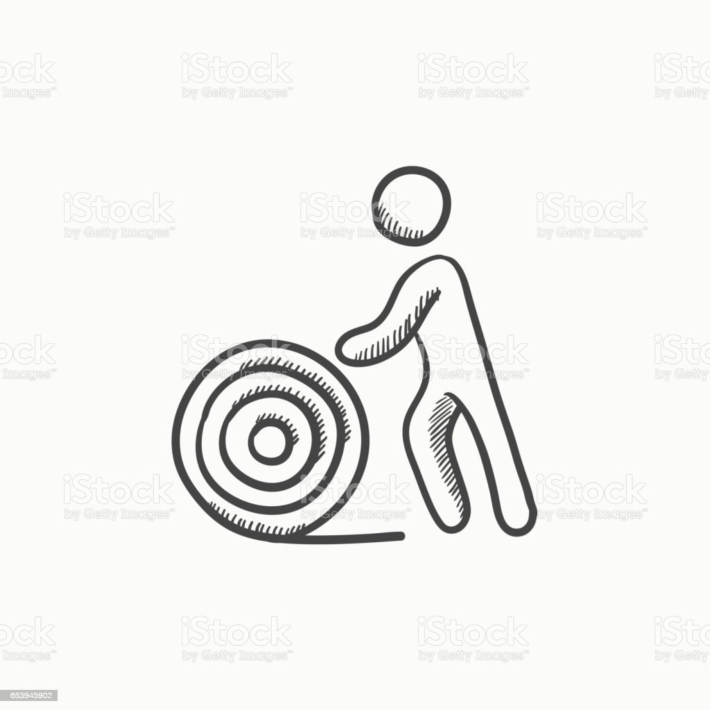 Man With Wire Spool Sketch Icon Stock Vector Art & More Images of ...