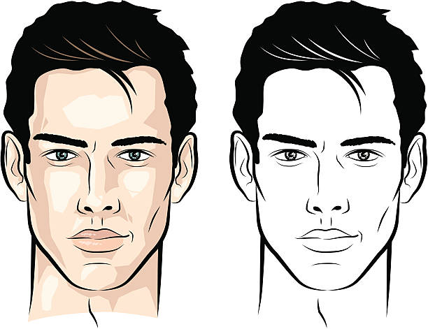 Man with wisp of hair Vector-illustration of a young man's face. suave stock illustrations