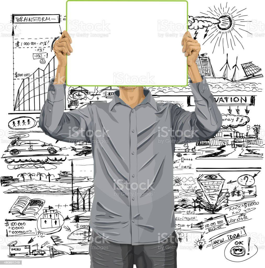 Man With Write Board Against His Head vector art illustration