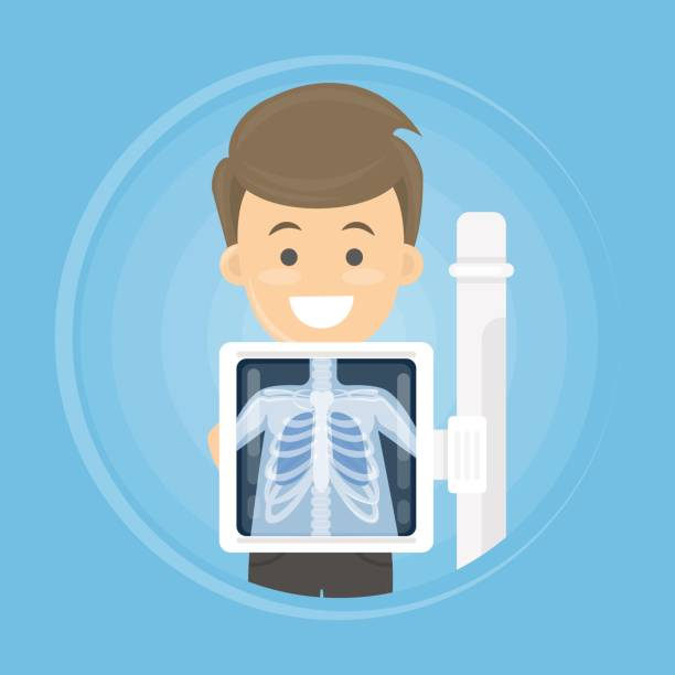 man with x ray Man with x ray chest bones. Medical treatment. radiology stock illustrations