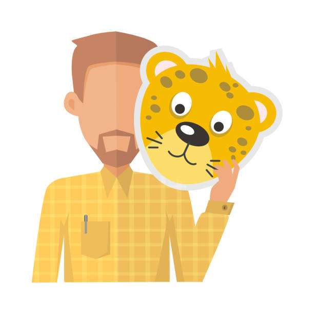 Man Without Face with Tiger Mask Isolated Man without face with tiger mask isolated on white. Boy in shirt and beard with carnaval festival mask for children. Funny cartoon masquerade masque. Animator userpic avatar. Vector in flat style animal costume stock illustrations