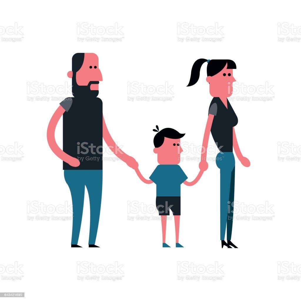 Ilustración De Hombre Mujer Y Niño De Dibujos Animados Diseño De La