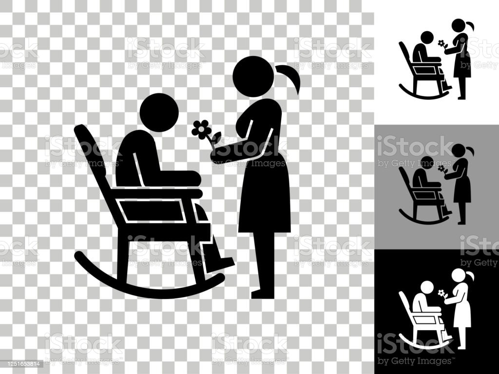 Picture of: Man Woman And Rocking Chair Icon On Checkerboard Transparent Background Stock Illustration Download Image Now Istock