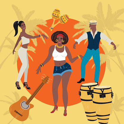 Man, woman at the party dancing hold lating dance, slasa, cha-cha, rimba, mambo. Tropical background, t-shirt, poster, party invitation concept.