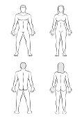 Man Woman Body Blank Outline Illustration