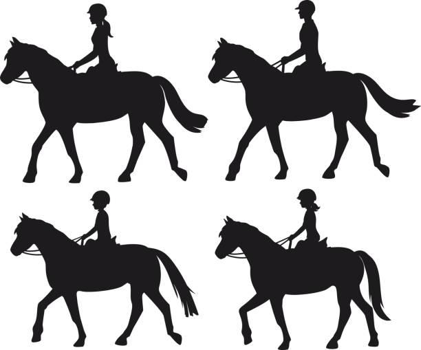 馬に乗る男女性男の子と女の子シルエット家族、カップル、こども乗馬トレーニング ベクトル イラスト - 乗馬点のイラスト素材/クリップアート素材/マンガ素材/アイコン素材