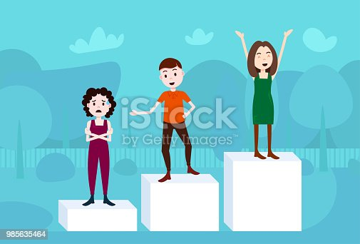 man woman character on podium loser winner success concept template