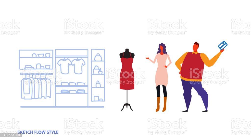 19db6c149 hombre mujer elegir nueva pareja vestido permanente ropa femenina de moda  moderna tienda mercado centro comercial