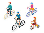 Group of bicyclists in helmets, a family on bicycles, a father, a mother and a daughter on bicycles, isometric projection