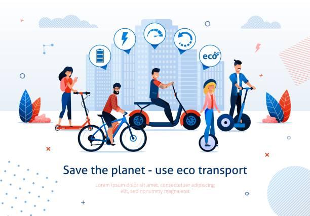 illustrazioni stock, clip art, cartoni animati e icone di tendenza di man woman ride electro bike bicycle scooter segway - monopattino elettrico