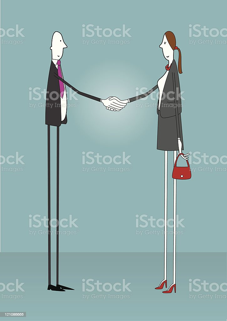 Man & woman shaking hands royalty-free stock vector art