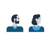 Man, woman side view, half face head, clerk service, teacher, office staff