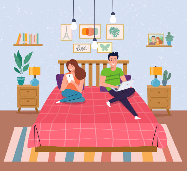stockillustraties, clipart, cartoons en iconen met man, vrouw zittend op de bank met notebook en smartphone. interieur ruimte slaapkamer. vector platte illustratie - echtgenote