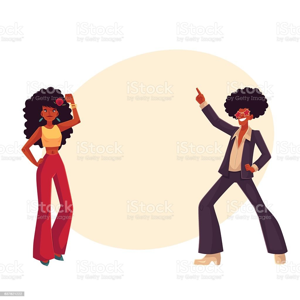 Man, woman with afro hair in 1970s clothes dancing disco vector art illustration
