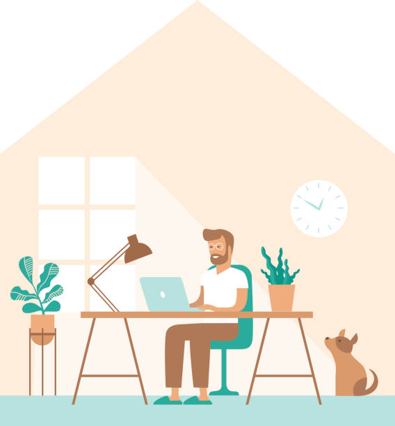 Man work in comfortable conditions Freelancer character working from home remotely vector art illustration